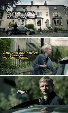 "#SPOILERS #Sherlock #Series3 - I loved how they tried to be all clever and cut the shots so you see him behind the wheel but never driving, but we were all watching going ""aw look at you trying to be clever, teehee martin can't drive."""