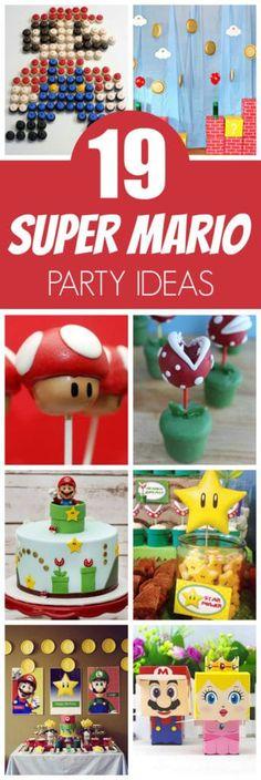 19 Awesome Super Mario Birthday Party Ideas 19 Super Mario-Geburtstagsfeier-Ideen bei Pretty My Part Super Mario Party, Super Mario Bros, Super Mario Birthday, Mario Birthday Party, 6th Birthday Parties, Birthday Ideas, Birthday Games, Party Party, Mario Und Luigi