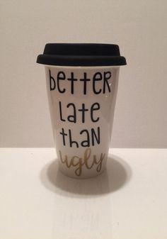 Ceramic traveler mug // coffee travel mug // by FarmhouseChicHanna