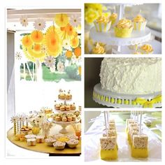 Yellow desserts for table