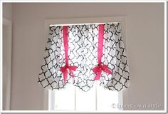no sew window treatment using a fitted sheet and ribbon