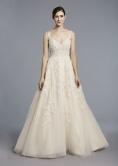 CAMELOT  - Anne Barge, Spring 2018   Wedding gown with a V-neck bodice of beaded embroidery extending onto a full tulle skirt.