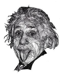 Albert Einstein. Josh Bryan, un artista inglés de 20 años, es el autor de la serie Triangulations.