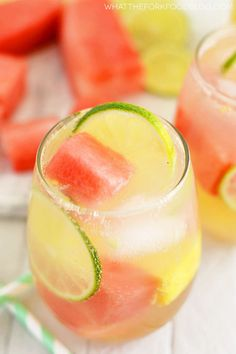 Summer Sangria with Watermelon and Pineapple - 1 bottle Moscato wine ml) C brandy 1 lime, thinly sliced 2 C Del Monte® watermelon, cubed and cold 2 C Del Monte Gold® Extra Sweet Pineapple, cubed and cold lemon lime soda, for serving ice cubes Summer Drink Recipes, Sangria Recipes, Cocktail Recipes, Cocktail Drinks, Cocktail Ideas, Wine Cocktails, Punch Recipes, Summer Food, Veg Recipes