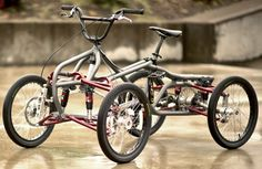 Just when you thought the industry had squeezed all the fun ideas out of pedal-powered machines, a small Portland company blows the cap off with its air-grabbing, Velo Design, Bicycle Design, Push Bikes, Bmx Bikes, Cool Bicycles, Cool Bikes, 4 Wheel Bicycle, Velo Vintage, Quad Bike