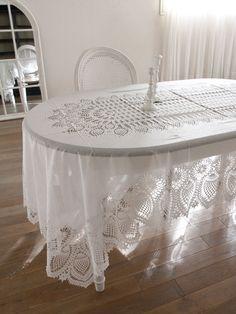 イタリアFiorira un Giardino テーブルクロスホワイト - サラグレース