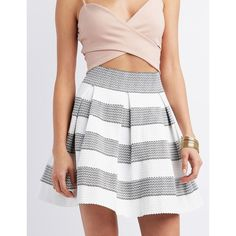 Charlotte Russe Pleated Bandage Skater Skirt ($25) ❤ liked on Polyvore featuring skirts, white circle skirt, white knee length skirt, box pleat skirt, skater skirt and white skater skirt