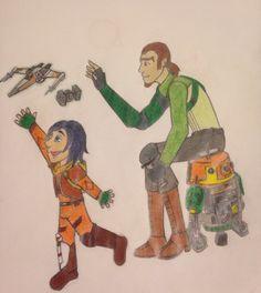 """Father son time."" Kanan and de-aged Ezra. Star Wars rebels fan art."