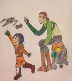 """Father son time."" Kanan and de-aged Ezra. Star Wars rebels fan art."