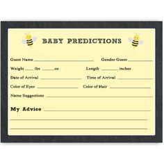 Have guests make predictions at your gender reveal party with this bee themed chalkboard prediction card.