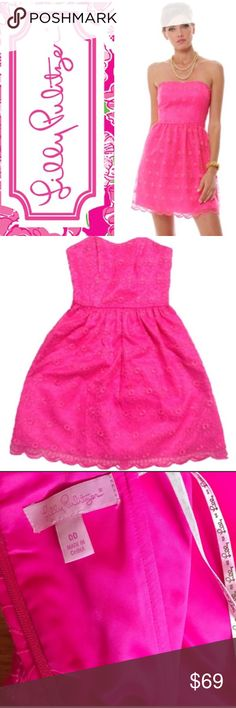 """🌸 Lilly Pulitzer Pop Pink Payton Floral Dress 00 Lilly Pulitzer Pop Pink Payton Embroidered Savvy Floral Organza Dress. Sweetheart strapless party dress with scalloped bottom and back zipper. Floral organza pattern over pink underlay. Super cute and girly! 100% Polyester. Size 00. Bust measures 14"""", waist is 12"""" and length is 25"""". Lilly Pulitzer Dresses Strapless"""