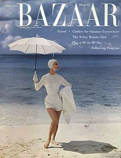 Harper's Bazaar [date unknown] Boy, summers definitely have changed! No swim caps & look at that suit! Long sleeves... Or was that part of the cover-up? And the gloves! Today is SO MUCH different! Society-wise...