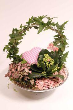 love-7 arrangement Hedera bow + Kalanchoë and greenplants, with decoration