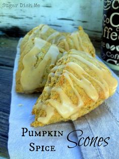 Tender buttery Pumpkin Spice Scones are simple to make, taste amazing with coffee, and feel like fall! What's For Breakfast, Breakfast Recipes, Dessert Recipes, Desserts, Fall Recipes, Sweet Recipes, Holiday Recipes, Pumpkin Scones, Pumpkin Spice