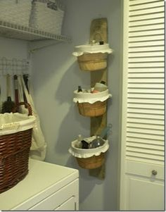 Laundry storage. Great idea! Would be perfect for my laundry 'closet'.