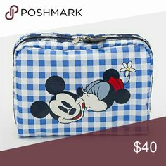 Lesportsac mickey and Minnie check cosmetic bag Nwt lesportsac xl cosmetic case LeSportsac Bags Cosmetic Bags & Cases