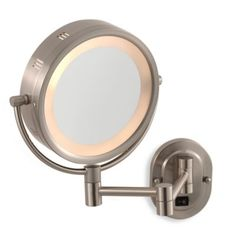 Buy Jerdon 5X/1X Nickel Lighted Hardwired Wall Mount Mirror from Bed Bath & Beyond