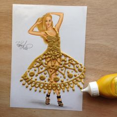 Mustard dress by Edgar Artis. Would like this one much better if he would fill in one more row of the design, so it's not open at top of legs ;)