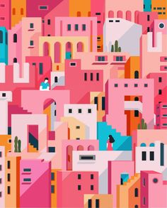 Illustration for Taobao xinxuan Illustration for Taobao xinxuan,I draw and travel This work has repeated geometric patterns throughout and similar shades of pink and orange to differentiate between various structures. The contrasting colours against. Art And Illustration, Behance Illustration, Illustration Inspiration, Graphic Design Illustration, Graphic Design Inspiration, Graphic Art Prints, Design Illustrations, Pattern Illustration, Watercolor Illustration