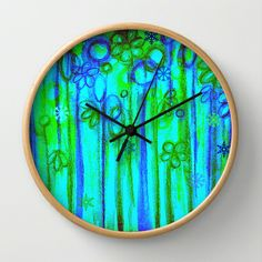 WINTER GARDEN -Bright Blue Green Neon Snowflake Floral Abstract Watercolor Painting and Digital Art Wall Clock by EbiEmporium - $30.00
