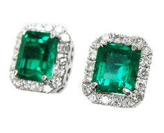 14K white gold emerald earrings Emerald Earrings 122433aa4