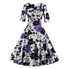 Vintage Sweetheart Neck Floral Print Pin Up Dress - PURPLE L