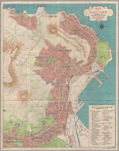 1946 Map of Cape Town central and neighbouring suburbs City Maps, Commonwealth, Cape Town, 1940s, South Africa, Avatar, Vintage World Maps, History, Architecture