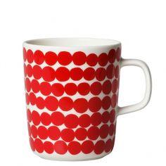 Marimekko Rasymatto Large Red Mug - Marimekko Kitchen & Dining Sale Scandinavian Mugs, Scandinavian Design, Marimekko, Red Mug, Nordic Design, Geometric Shapes, Dinnerware, Designer, Red And White