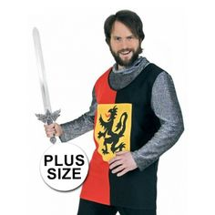 Grote maten ridder shirt. Ridder tuniek voor heren in grotere maten.