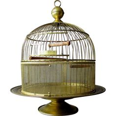 ANTIQUE ( early 1900's ) - HENDRYX - BRASS TABLETOP BIRDCAGE - The birdcage measures approximately15 1/2 tall by 13 wide - The Condition is Excellent