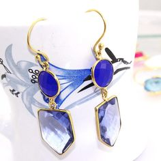 Zj7804 Sale !! Blue Chalcedony & Iolite Gold Plated New Fashion Earring Jewelry #Handmade #DropDangle