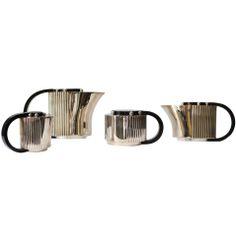 "Puiforcat Elegant Silver Plate Art Deco Tea and Coffee Service ""Etchea"""