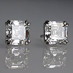 Jewelry Diamond : Matching asscher cut diamond earrings in platinum. - Buy Me Diamond Asscher Cut Diamond, Diamond Studs, Diamond Jewelry, Diamond Earrings, Silver Earrings, Platinum Earrings, Solitaire Earrings, Amber Earrings, Platinum Hair
