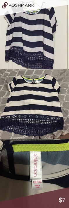 Navy and white striped crop top Navy and white short sleeve crop top with navy lace trim Xhilaration Tops Crop Tops