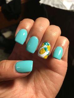Summer nails! Teal acrylics with pineapples #cutesummernails