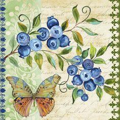 Vintage Fruit-blueberries Painting