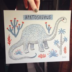 Apatosaurus Dinosaur archival print. Children's home interiors, wall art £18.00