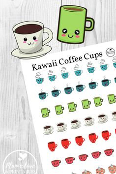 If the coffee doesn't make you smile, these Kawaii cuties will! Printable coffee cup stickers in 7 designs. Printable Planner Pages, Printable Planner Stickers, Free Planner, Planner Ideas, Free Printables, Binder Organization, Organizing, Kawaii Stickers, Planner Decorating
