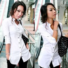 Fashion Womens Ol Casual Cotton Button Down Shirt Long Sleeve Blouse Fit Ea77