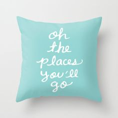 Oh The Places You'll Go Pillow Cover  Blue Cushion by AldariHome