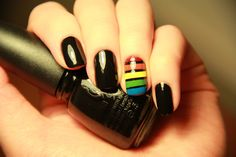 Rainbow nail design. Has an 80s vibe to it. :)