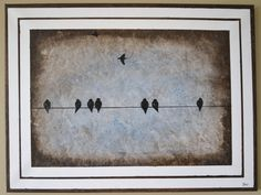 Winter Birds On A Wire Original Painting by sheriwiseman on Etsy, $129.00