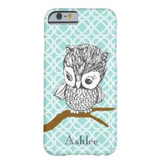 Cute little owl on a branch.  Customizable Retro Owl iPhone 6 case.  Check out the artist's link.