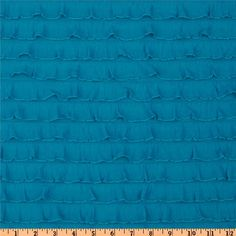 "1"" Turquoise Cascading Ruffle Fabric  by 1 yard"