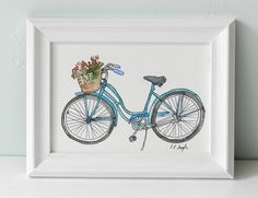 So damn cute! Watercolor bicycle painting.