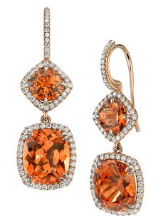 Omi Privé spessartite garnet drop earrings are perfect for the orange trend!