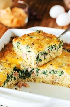 This egg casserole recipe is sure to become one of your favorite go-to brunch recipes. This recipe for Ham and Cheese Breakfast Casserole with Spinach gets an extra punch of flavor from a surprise ingredient. Breakfast Desayunos, Breakfast Dishes, Breakfast Recipes, Breakfast Casserole With Ham, Breakfast Ideas, Cooking Recipes, Healthy Recipes, Ham Recipes, Milk Recipes