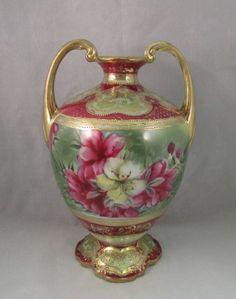 Antique Two Handle Nippon Vase Azalea Flowers heavy gold beading gilding Porcelain Vase, Fine Porcelain, Antique China, Antique Vases, Chocolate Pots, Noritake, Art Nouveau, Pottery, Hand Painted