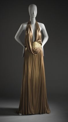 F/W 2006-2007, Italy - Woman's Evening Dress by Frida Giannini for Gucci - a) Dress: Lacquered viscose jersey; b) Belt: Leather and mirrors