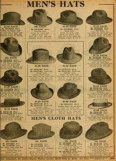 Sears Catalog no. 124. Men's Hats.
